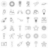 Light icons set, outline style. Light icons set. Outline style of 36 light vector icons for web isolated on white background Royalty Free Stock Photo