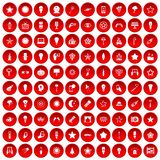 100 light icons set red Stock Images
