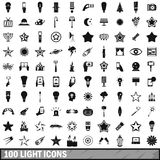100 light icons set in simple style Stock Photos