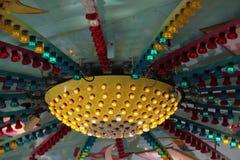 Light illumination on the carousel.  stock images