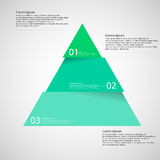 Light illustration inforgraphic with triangle divided to three parts. Illustration infographic with motif of green blue triangle divided/cut to three parts with Stock Photo