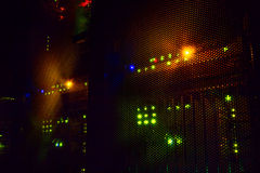 Light indicators on the mainframe data center in the dark Royalty Free Stock Images