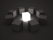 Light individual leader block in center of group team Royalty Free Stock Image