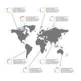 Light Infographic template with gray world map and pointers Royalty Free Stock Photos