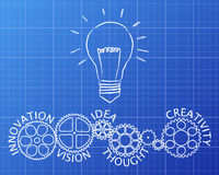 Light Innovation Gear Wheels Blueprint Stock Image