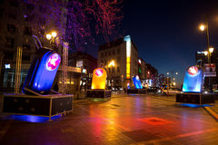 Light installation homaging old french pocket flashlights at Porte de Namur  as part of Bright Brussels Winter Royalty Free Stock Images