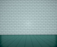 Light interior with brick wall. White interior wall 3d render Stock Image