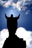 Light of Jesus Christ. Backlight of statue of Jesus Christ giving the blessing Stock Images
