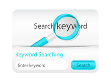 Light keyword searching form with magnifying glass Stock Images