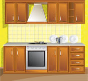 Light kitchen room. Vector yellow Light kitchen room Royalty Free Stock Photos