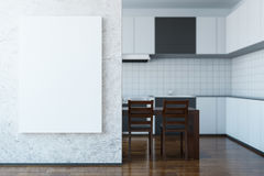 Light kitchen with whiteboard Royalty Free Stock Photos