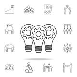 Light lamp bulbs with cogwheel gear icon. Detailed set of team work outline icons. Premium quality graphic design icon. One of the royalty free illustration