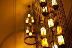 Light lamp electricity hanging decorate home interior. Big orange light lamp electricity hanging decorate home interior Royalty Free Stock Images