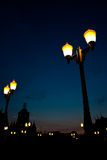 Light from the lamp on the evening. Royalty Free Stock Photography