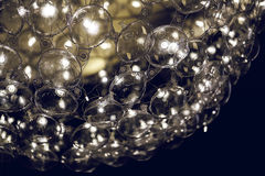 Light lamp  with glass spherical design elements of modern chandelier Royalty Free Stock Photo