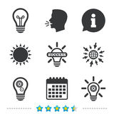Light lamp icons. Energy saving symbols. Light lamp icons. Lamp bulb with cogwheel gear symbols. Idea and success sign. Information, go to web and calendar Stock Photo