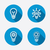 Light lamp icons. Energy saving symbols Royalty Free Stock Photography