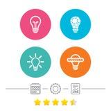 Light lamp icons. Energy saving symbols. Royalty Free Stock Photography