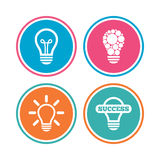 Light lamp icons. Energy saving symbols. Stock Image