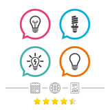 Light lamp icons. Energy saving symbols. Stock Photography