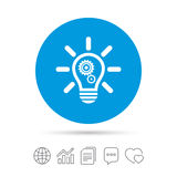 Light lamp sign icon. Bulb with gears symbol. Light lamp sign icon. Bulb with gears and cogs symbol. Idea symbol. Copy files, chat speech bubble and chart web Stock Photo