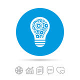 Light lamp sign icon. Bulb with gears symbol. Light lamp sign icon. Bulb with gears and cogs symbol. Idea symbol. Copy files, chat speech bubble and chart web Stock Images