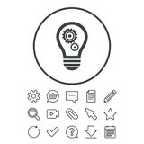 Light lamp sign icon. Bulb with gears symbol. Light lamp sign icon. Bulb with gears and cogs symbol. Idea symbol. Document, Chat and Paper clip line signs Royalty Free Stock Image