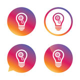 Light lamp sign icon. Bulb with gears symbol. Light lamp sign icon. Bulb with gears and cogs symbol. Idea symbol. Gradient buttons with flat icon. Speech bubble Stock Photo