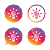 Light lamp sign icon. Bulb with gears symbol. Light lamp sign icon. Bulb with gears and cogs symbol. Idea symbol. Gradient buttons with flat icon. Speech bubble Royalty Free Stock Photo
