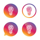 Light lamp sign icon. Bulb with gears symbol. Light lamp sign icon. Bulb with gears and cogs symbol. Idea symbol. Gradient buttons with flat icon. Speech bubble Stock Photography