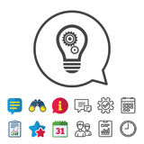 Light lamp sign icon. Bulb with gears symbol. Light lamp sign icon. Bulb with gears and cogs symbol. Idea symbol. Information, Report and Calendar signs. Group Royalty Free Stock Photo