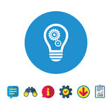 Light lamp sign icon. Bulb with gears symbol. Light lamp sign icon. Bulb with gears and cogs symbol. Idea symbol. Information, Report and Speech bubble signs Stock Image