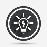 Light lamp sign icon. Bulb with lightning symbol. Royalty Free Stock Images