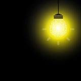 Light Lamp yellow background, idea. LED lamp in the dark. Royalty Free Stock Image