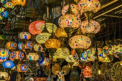Light lamps in the market of Istambul. Light colorful oriental lamps in a store of Gran Bazaar in the city if Istambul royalty free stock photo