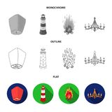 A light lantern, a lighthouse, a fire, a chandelier with candles.Light source set collection icons in flat,outline. Monochrome style vector symbol stock Royalty Free Stock Image