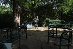 Kid`s speeching statue in rot fai park royalty free stock photo