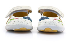 Light leather shoes of beige colour for child. Stock Photography