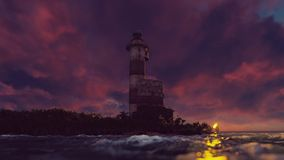 The light of the lighthouse rotates over the coast at sunset. 3D Rendering. The light of the lighthouse rotates over the coast at sunset vector illustration