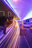 Light line. The light trails on the busy streets background in shanghai Stock Image
