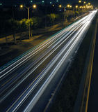 Light line. The light trails on the busy streets background in shanghai Royalty Free Stock Photo