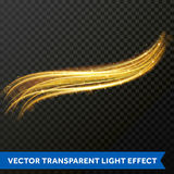 Light line gold swirl effect. Vector glitter light fire flare trace. Light line gold swirl effect. Bokeh light glitter round wave line with sparkling particles Royalty Free Stock Image