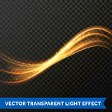 Light line gold swirl effect. Vector glitter light fire flare circle trace. Light line gold swirl effect of magic sparkle trail on transparent background. Vector Royalty Free Stock Photos