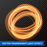 Light line gold swirl effect. Vector glitter circle light fire flare trace. Vector fire light trace effect of circle line gold swirl. Glowing circular round Stock Image