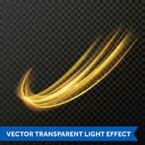 Light line gold swirl effect. Vector glitter light fire flare trace. Vector light effect of gold glowing line swirl. Glittering light of fire flare trace or Royalty Free Stock Photos