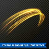 Light line gold swirl effect. Vector glitter light fire flare trace. Magic sparkle swirl trail effect on transparent background. Bokeh light glitter round wave Royalty Free Stock Image