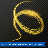 Light line gold swirl effect. Vector glitter light fire flare trace. Magic sparkle swirl trail effect on transparent background. Bokeh light glitter round wave Stock Image