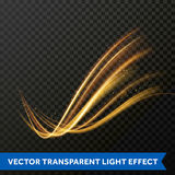 Light line gold swirl effect. Vector glitter light fire flare trace. Light line gold swirl effect. Magic sparkle swirl trail effect on transparent background Stock Photos