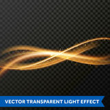 Light line gold swirl effect. Vector glitter light fire flare trace. Light trail or gold line swirl glittering effect. Vector glitter light of fire flare trace Stock Photo