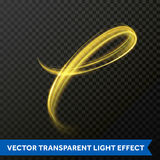Light line gold swirl effect. Vector glitter particles fire flare trace. Vector light effect of gold sparkling line swirl. Shining glitter trace or glowing fire Stock Photos
